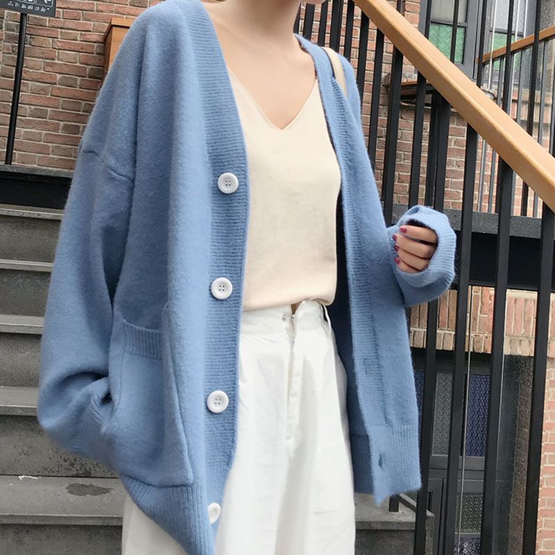 Korean Women Loose Cardigan Double Pocket Design Knitted Cardigan Female Sweater Jacket Autumn Winter V-neck Long Sleeve Coat