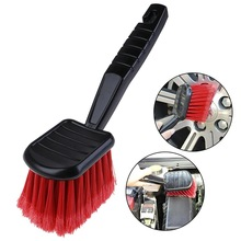 1pc Car Wheel Brush Tire Cleaner with Red Bristle and Black Handle Washing Tools for Auto Detailing Motorcycle Cleaning