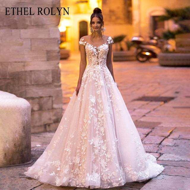 ETHEL ROLYN A Line ชุดแต่งงาน 2020 ปิดไหล่ Backless ลูกไม้โรแมนติก Appliques Beach Boho ชุดเจ้าสาว Vestido De Noiva