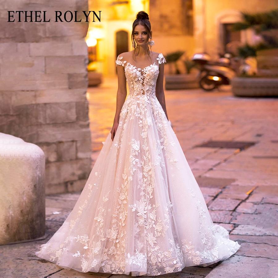 ETHEL ROLYN A-Line Wedding Dress 2020 Off The Shoulder Backless Romantic Lace Appliques Beach Boho Bridal Gown Vestido De Noiva