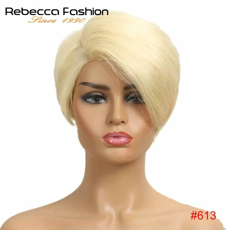 Rebecca Lace Front Human Hair Wigs For Black Women Straight Ombre Short Bob Wig Pre Plucked 613 Blonde Pink Blue Burgundy 99J