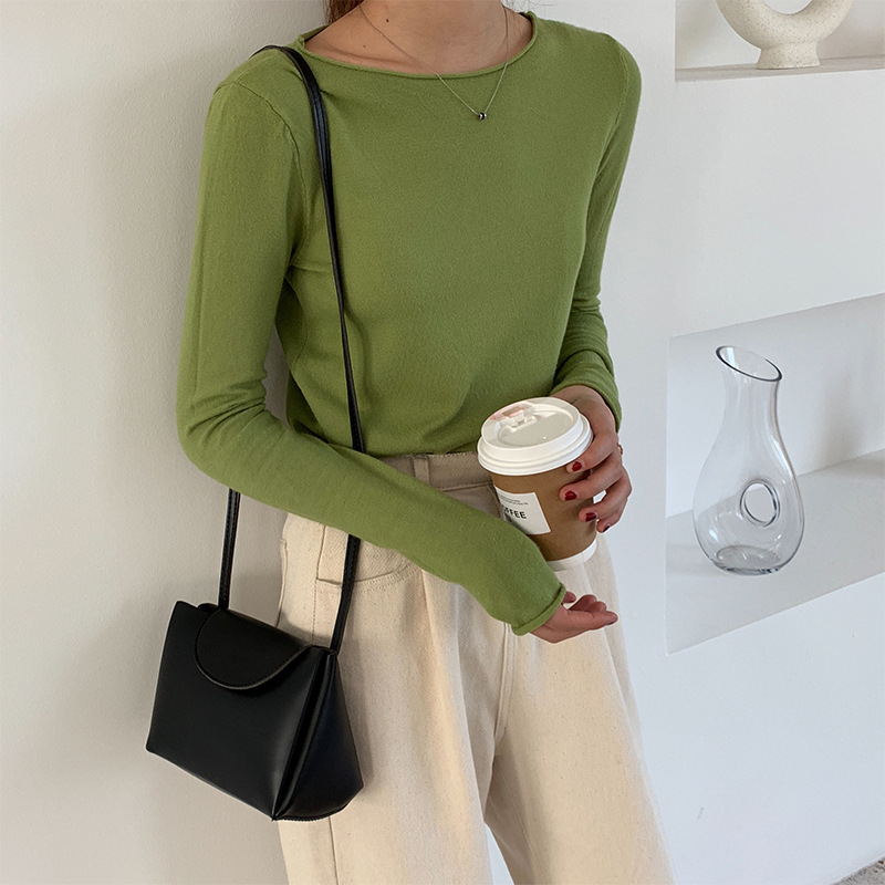 Knitted Boat Neck Top Women Curl Slash Neck Solid Sweater Pullovers