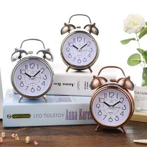 Alarm Clock Vintage Retro Silent Pointer Clocks Round Number Dual Bell Loud Alarm Clock Bedside kids room Home Decor 1PC