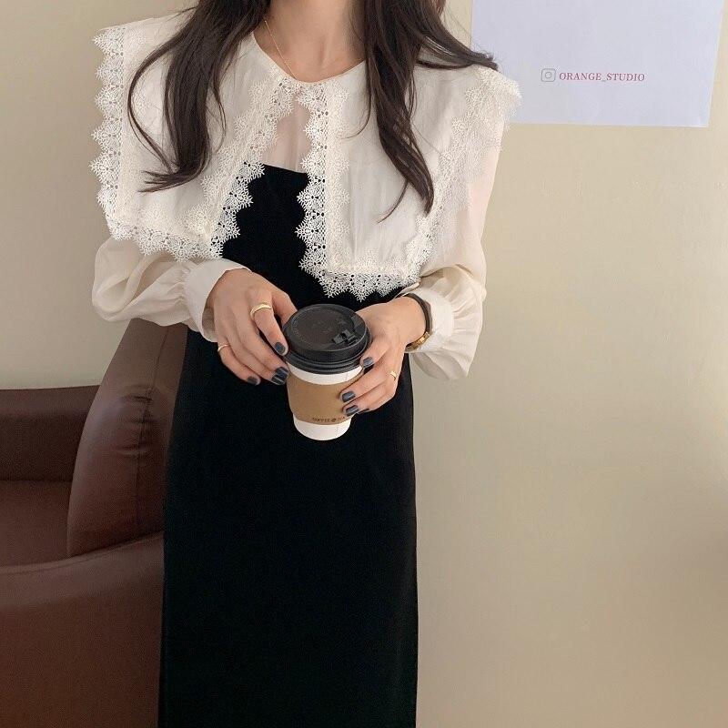 H5ef3e9f77c254f58b5ab440d6d478c108 - Autumn / Winter Puritan Lace Collar Long Sleeves Velvet Patchwork Midi Dress