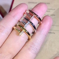 Luxury 925 Sterling Silver Jewelry Nail Ring for Women Punk Style Vintage Special Simple Ladies One Ring Size 6 7 8