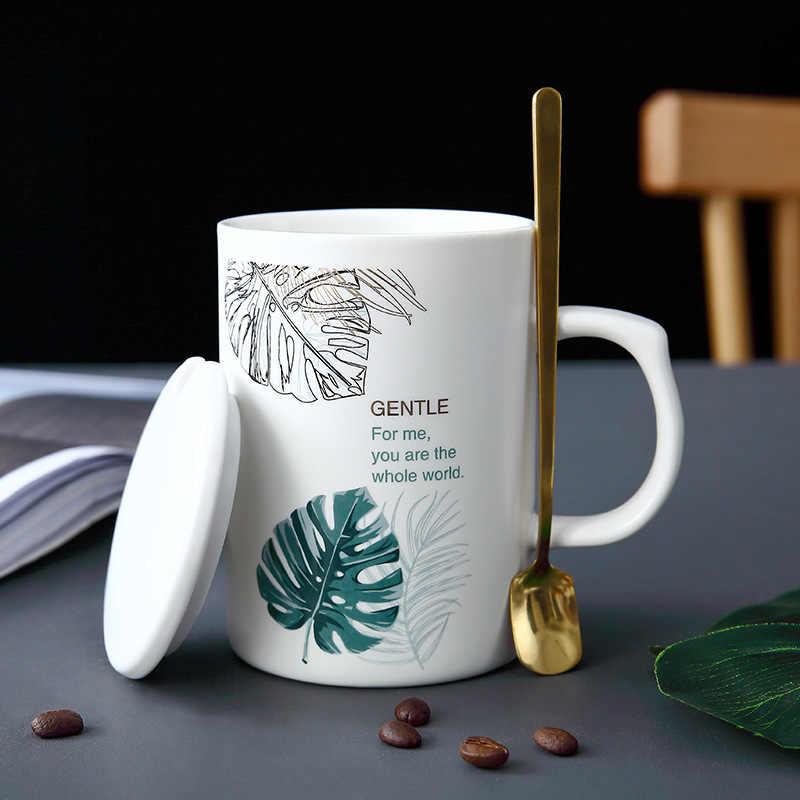 Creative Green Leaf White Porcelain Mug