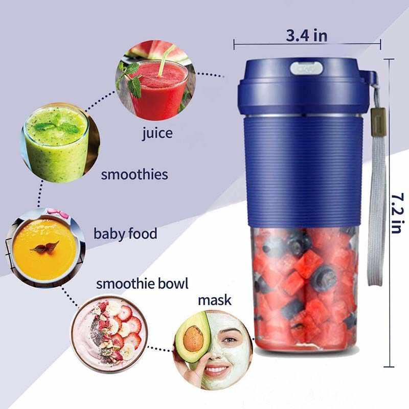 Portátil Liquidificador, Espremedor de Sumos Liquidificador Pessoal Sem Fio, Mini Mixer, Smoothie Blender com Usb Recarregável À Prova D' Água, 300 Ml, Em Casa,