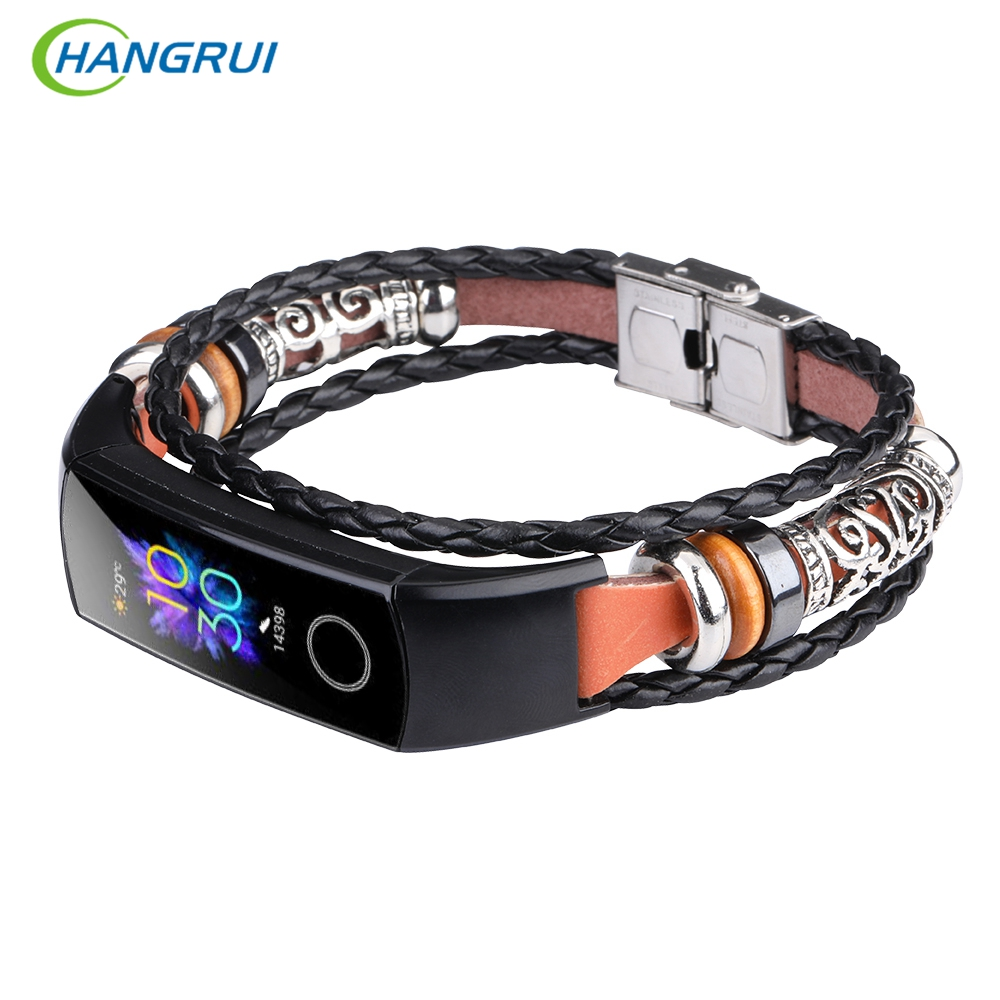 For Honor Band 5 4 Strap Leather For Huawei Honor Band 5 NFC Oximetry Replacement Wristbands Fashion Wriststrap For Honor Band 4