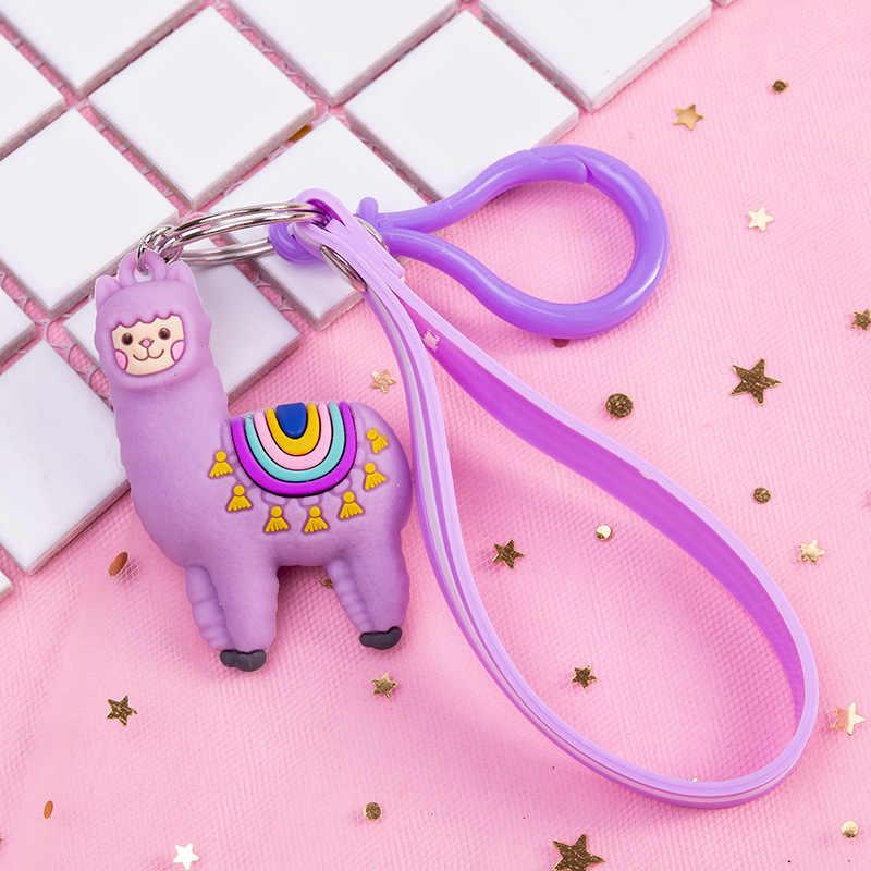 Moda żywicy epoksydowej trójwymiarowy śliczne alpaki brelok lalki kreatywny Cartoon małe owce torba wisiorek – biżuteria mały prezent brelok