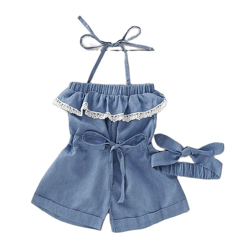 2021 New Cotton Girls Overalls Cowboy Pure Color Fashion Children's Loose Jeans Mid Waist Lace Suspender Pants with Headband