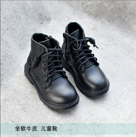 WYZHY Leather first layer cowhide Korean Martin boots girls short boots winter boys cotton boots children shoes leather boots