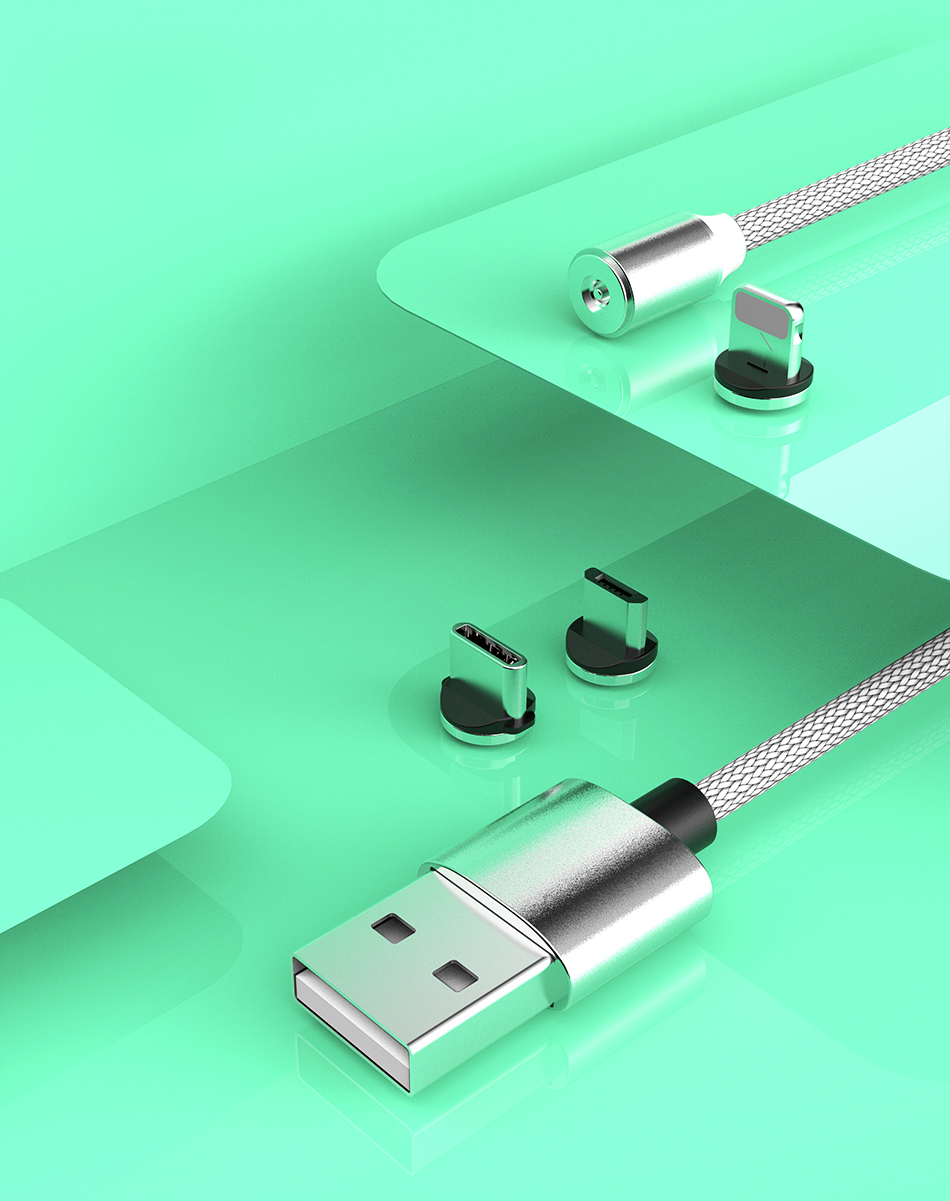 NOHON 3 in 1 Fast Magnet Charge Cable LED Lighting 8 Pin Micro USB Type C For iPhone X 7 8 6 Xiaomi 4 Magnetic Charging Cables (12)