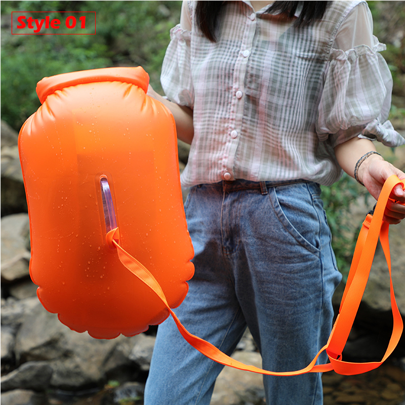 Купить с кэшбэком 20L Outdoor Waterproof Bag Dry Bag Inflatable Swimming Bags Storage Flotation Buoy Rafting Kayaking Air River Trekking Bags