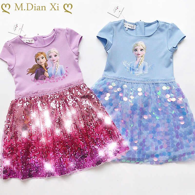 kiz elbise yaz bebek cocuk giysileri prenses dondurulmus anna elsa elbise kar kralicesi cosplay kostum partisi dogum gunu cocuk giyim