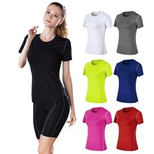 Women Wicking Breathable Short Sleeve Loose Yoga Running Workout Activewear Comfort T-shirt Top недорого