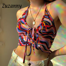 Zuzanny Summer Y2K Crop Top Women Deep V Neck Backless Tie Dye Print Tank Camis 2021 Green Bandage Beach Party Sexy Halter Tops