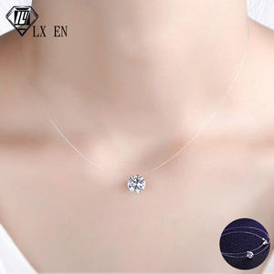 LXOEN Fashion Zircon Pendant Necklace Invisible Fishing Line Necklace for Women WIth Crystal Girl Choker Necklace Jewelry Gift