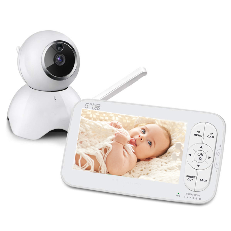 <font><b>5</b></font> Inch HD LCD 720P Wireless Baby Monitor PTZ 360 Degree Zoomable Baby Camera Night Vision Babysitter Nanny Video Security Camera image