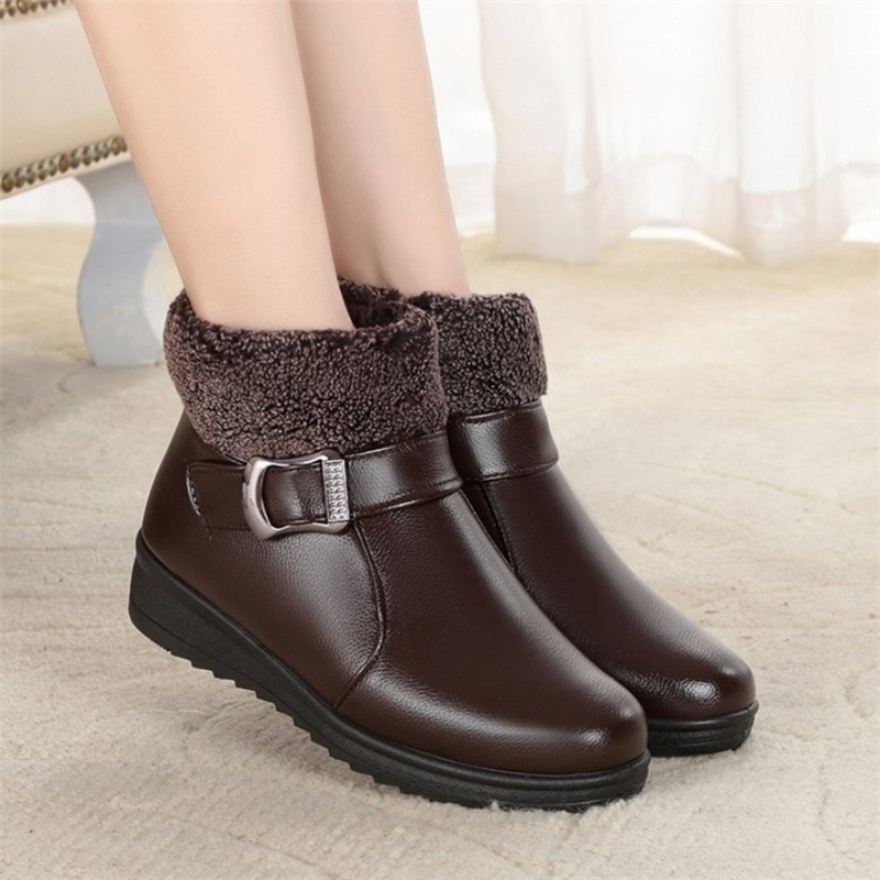 2020 Winter Women's 41 Shoes Rubber Snow Boots Women Warm Casual Fur Ankle Female Bowtie Non Slip Plush Suede Fashion Ladies