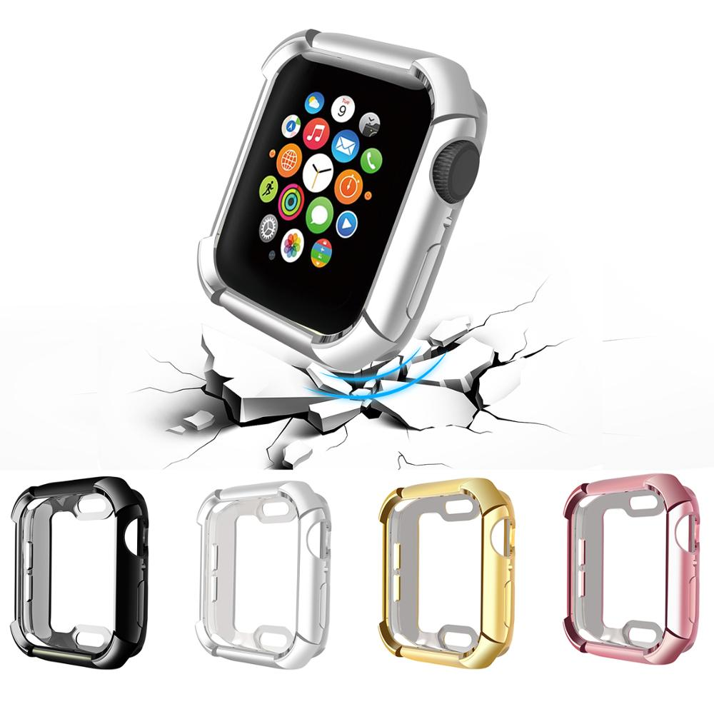 Protector Case For Apple Watch 5/4/3/2/1 40mm 44mm  Full Protect Fall-proof Plating TPU Cases For IWatch Series 3 2 42mm 38mm