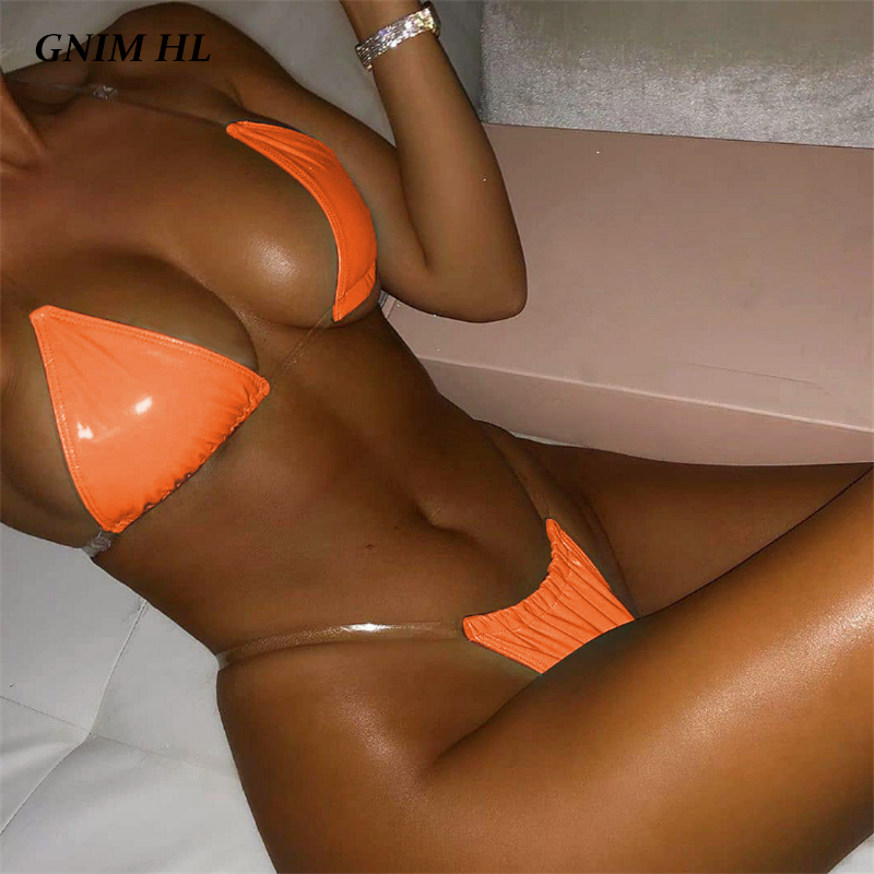 GNIM Sexy PU Leather Swimwear Women Triangle Thong Bikini Swimsuit 2019 Summer Solid Beachwear Bathing Suit Women Biquini Set