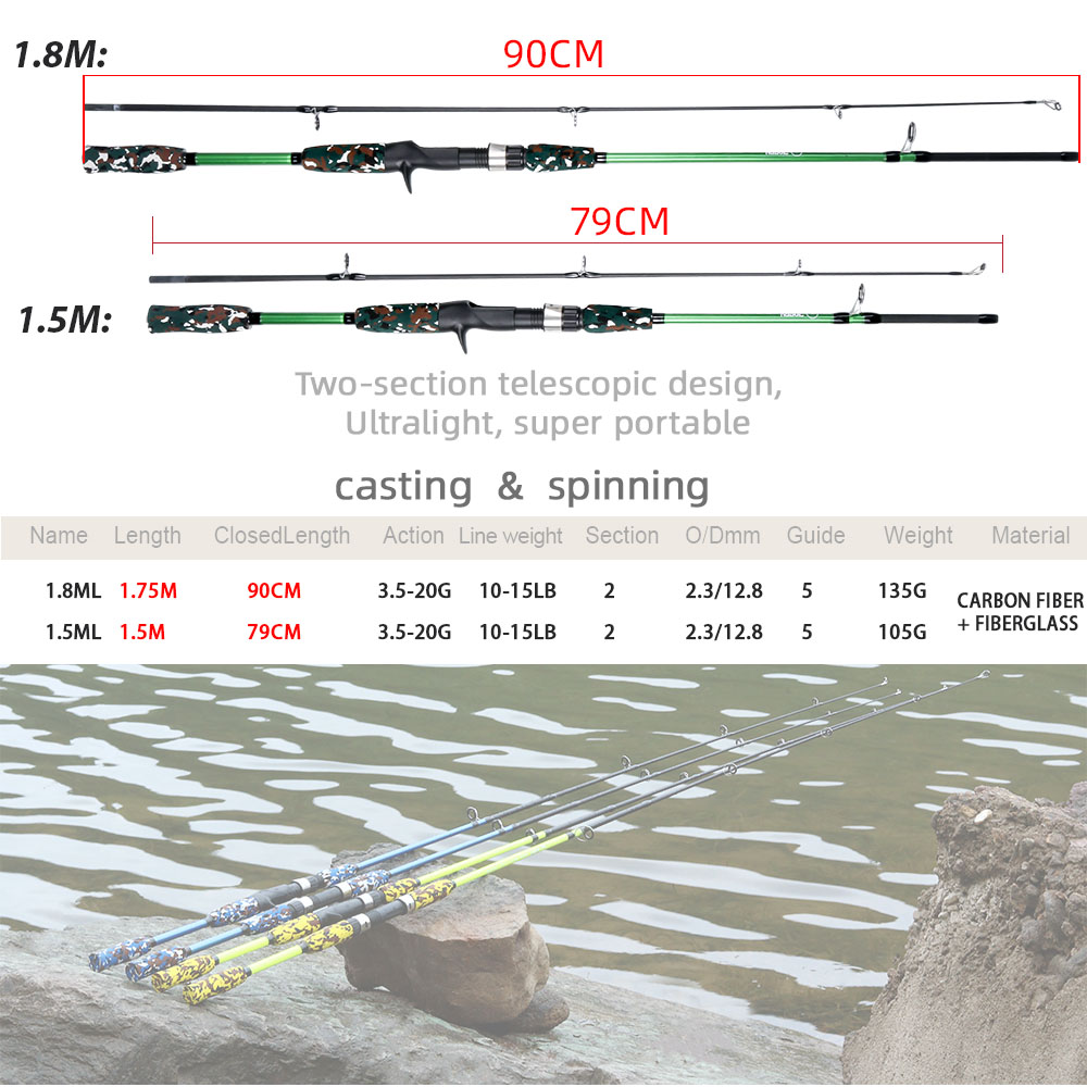 Spinning Casting Hand Lure Fishing Rod Pesca Carbon Pole Canne Carp Fly Gear Reel Seat feeder Ultralight Mini Travel Surf 1.8M 5