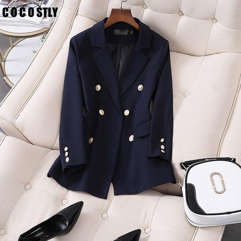 Korea Blazer Women Double Breasted Navy Blazers Office Lady Suit Jacket Leisure Blazer Loose Coat Streetwear Plus Size 5XL