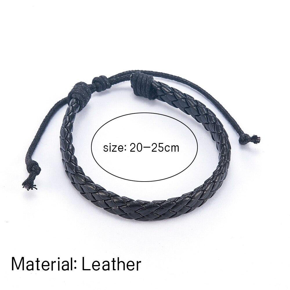 Fashion Men Black Weave Leather Simple Adjustable Bracelet Bangle Cuff Rope Bracelet Jewelry Gift For Boyfriend 5