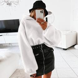 Свободные толстовки из искусственного меха женские зимние теплые пушистые пуловеры короткие белые с длинным рукавом укороченная Толстовк...