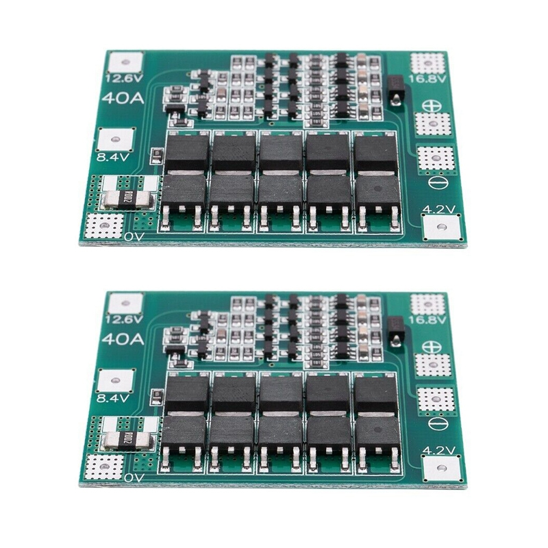 FULL-2PCS 4S 16.8V 18650 Lithium Battery Charger Protection Board PCB BMS 40A Module