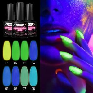 Image 2 - Azure Schönheit 8 teile/los Leucht Nagel Gel Leuchtstoff In Die Dark Led Gel Nagel Lack Tränken Weg Langlebige Chamäleon gel Lack