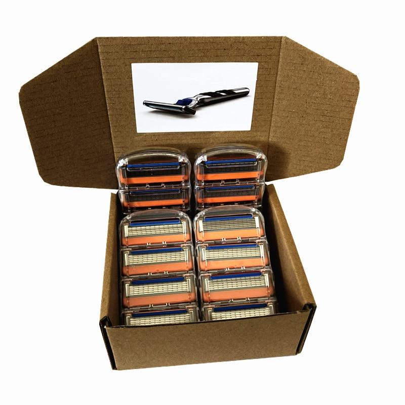 Custom Made Packing Box Fusion Men Razor Blades Replacement Blade 5 Layers Men Face Care Straight Razor 16pcs/Box