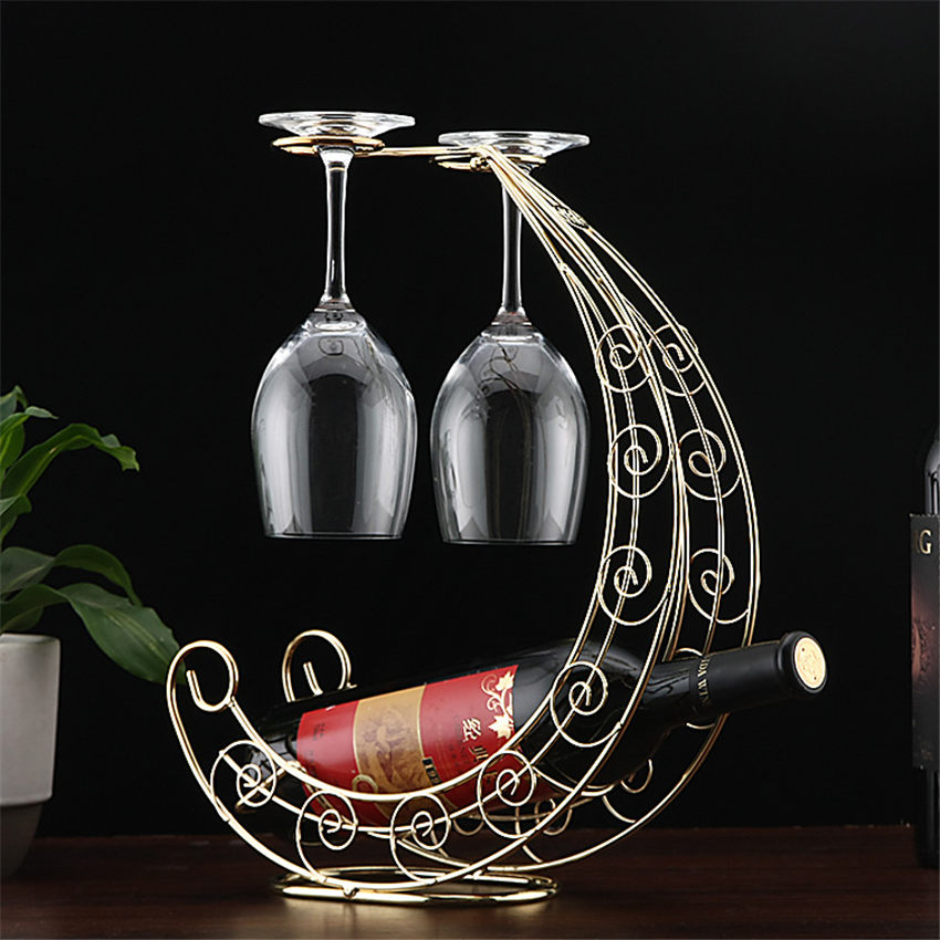 Retro Wine Bottle Holder Wine Rack Champagne Bottles Stand Glass Cup Holder Display Hanging Drinking Glasses Stemware Rack She
