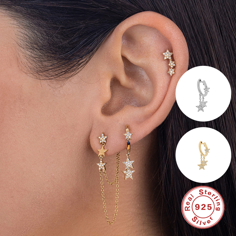 Luxury Solid 925 Sterling Silver Sparkling Hanging Pendientes Hoop Earrings for Women Valentine's Day Round Earring Fine Jewelry
