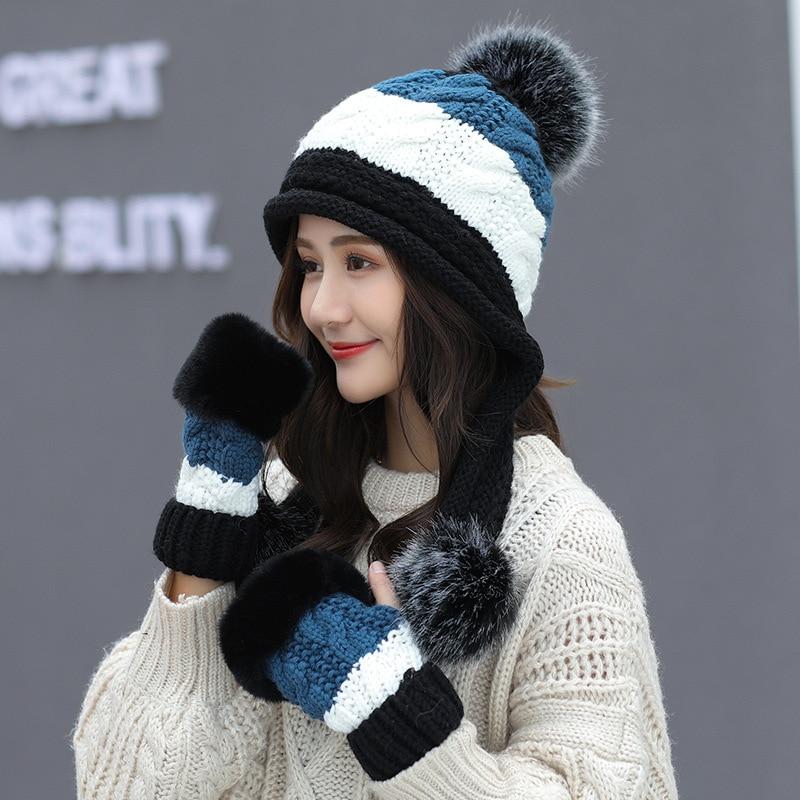 Women's Hat And Gloves Set For Women Men Kitted Wool Winter Hats For Women Hat Glove Set Beanie Winter Accessories