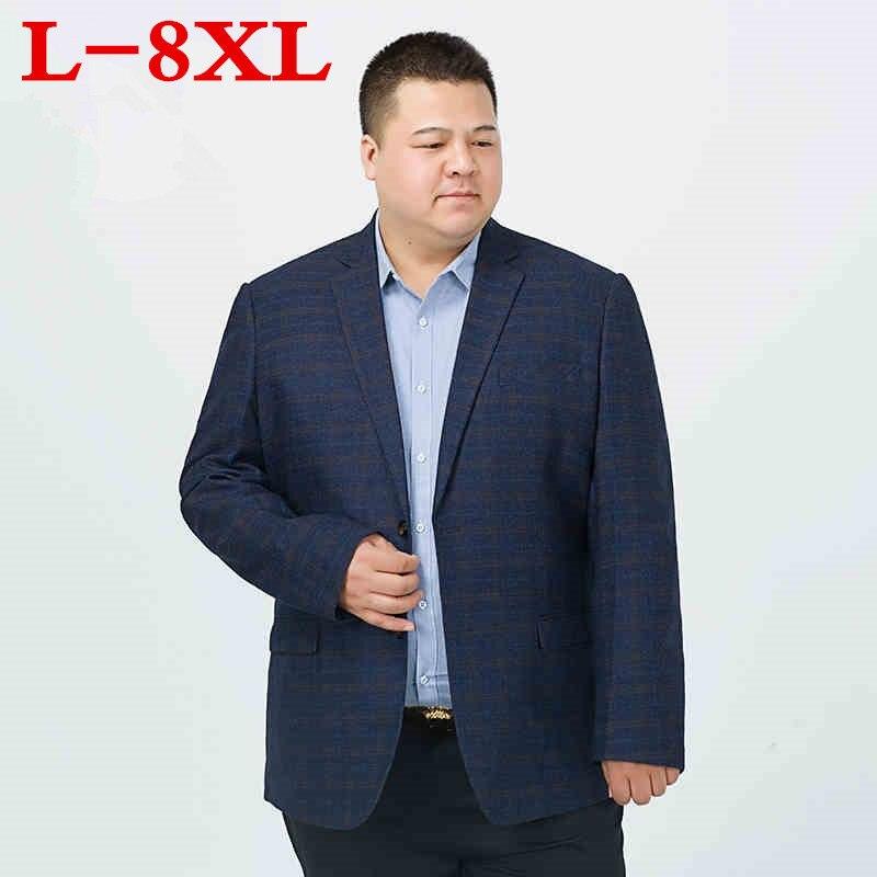 Big Size 8XL 7XL 6XL 5XL  Mens Korean Loose Fit Fashion Cotton Blazer Suit Jacket Plus Size Male Blazers Mens Coat Casual Suits