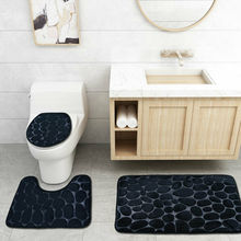 3PCS Set Bath Mat Rug Non Slip Push Bathroom Toilet Seat Lid Cover