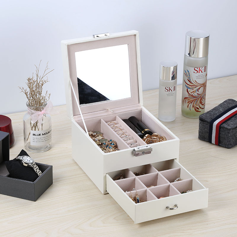Casegrace Leather Jewelry Box Organizer Multi Section Classic Holder With Modern Drawer Lock Large Mirror For Women Teens Girls