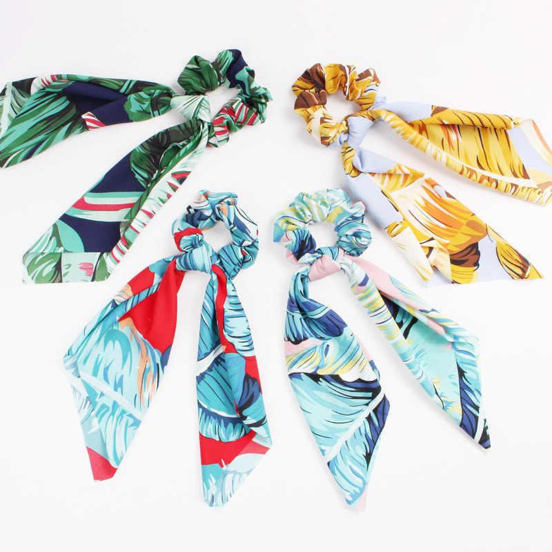 Bufanda Scrunchies elegante Floral leopardo serpentinas lazo elástico para el cabello de las mujeres lazos para el cabello cintas para el cabello accesorios para el cabello
