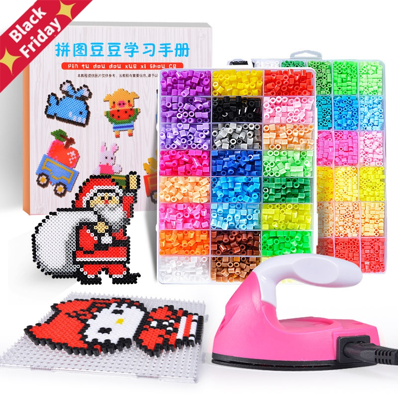 Perler Beads Kit 5mm/2.6mm Hama Beads Whole Set With Pegboard And Iron 3D Puzzle DIY Toy Kids Creative Craft Toy Gift
