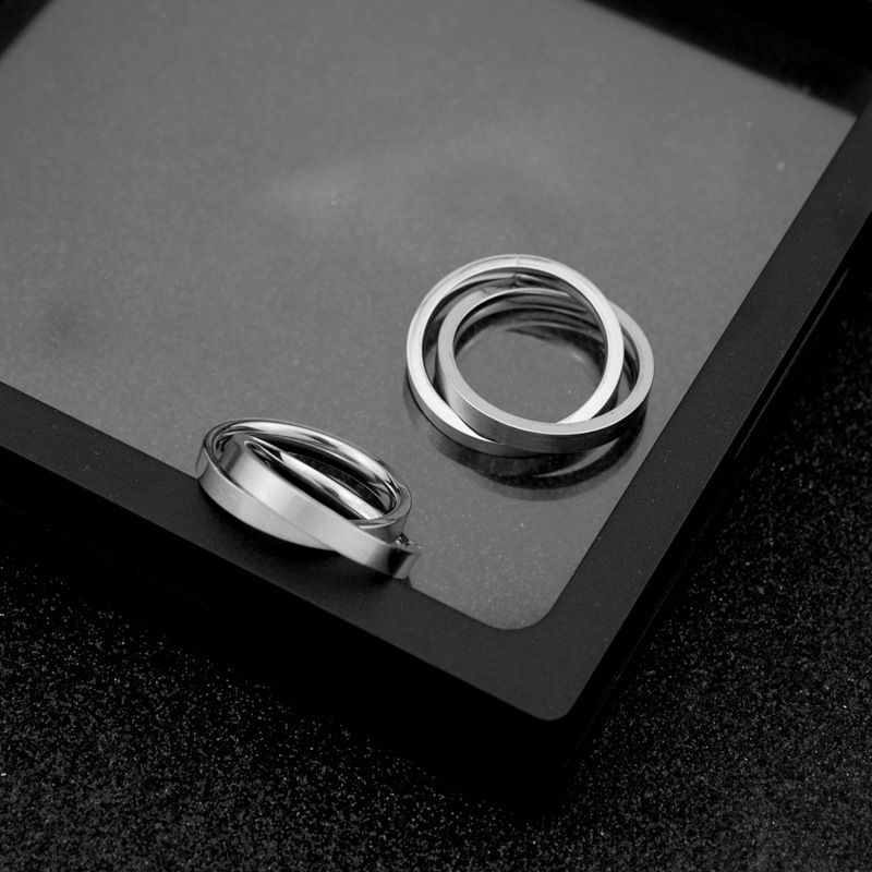 Korean Style Stainless Steel Couple Double Undefined Rings Simple Women Men Valentine's day Jewelry Engagement AccessoriesOSR679 4