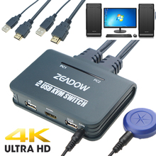 2 порта HDMI KVM переключатель клавиатура мышь Разделитель с HDMI и USB кабелями поддержка 4K × 2K @ 30 Гц для Linux, Windows, Mac