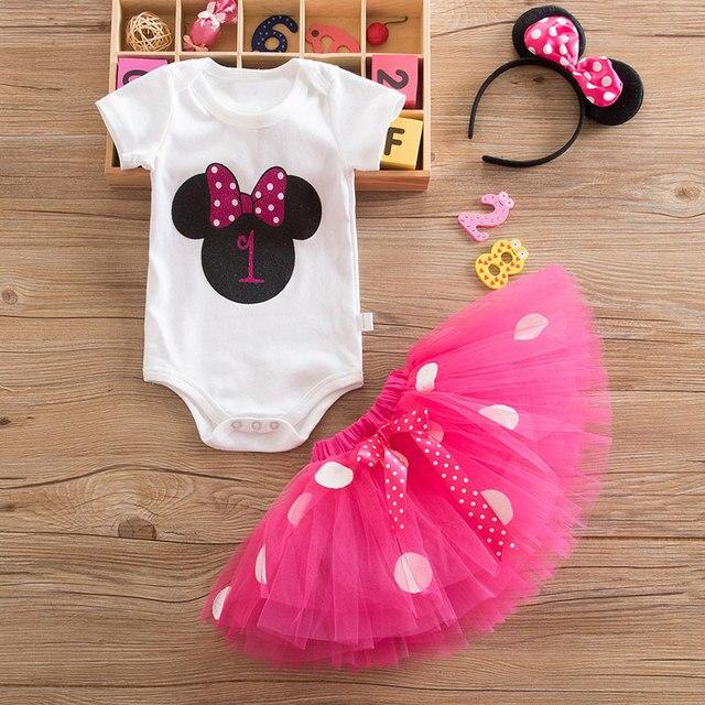 Vestido mi bebé Minnie para niña, vestido de bautizo, ropa de fiesta de 1er cumpleaños, disfraz de niño de fantasía, vestidos de ratón infantil 12M