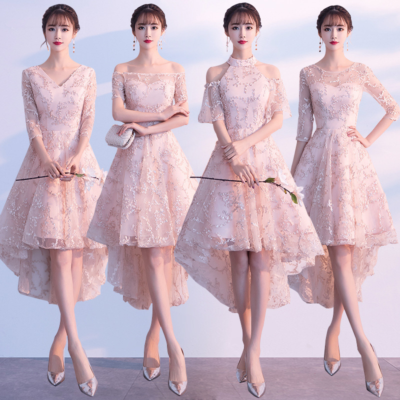 New Bridesmaid Dresses 2020 Sexy Boat Neck Short Sleeve Wedding Guest Dress Pattern A-Line Tea-Length Women Formal Vestidos R040