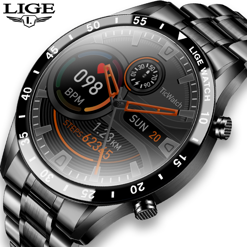 LIGE 2021 New steel band mens watches IP68 waterproof sports Fitness tracker Clock activity Heart rate blood pressure Watch men