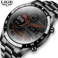 LIGE 2021 New steel band mens watches IP68 waterproof sports Fitness tracker Clock activity Heart rate blood pressure Watch men