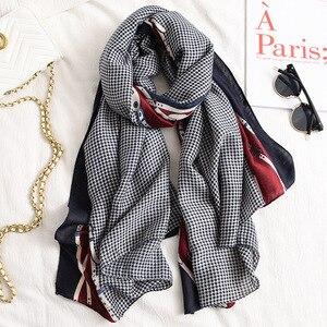 Image 2 - אופנה שיפוע פסים קו שוליים ויסקוזה צעיף צעיף נשים באיכות גבוהה Printe פשמינה גנב Bufandas המוסלמי חיג אב 180*90cm