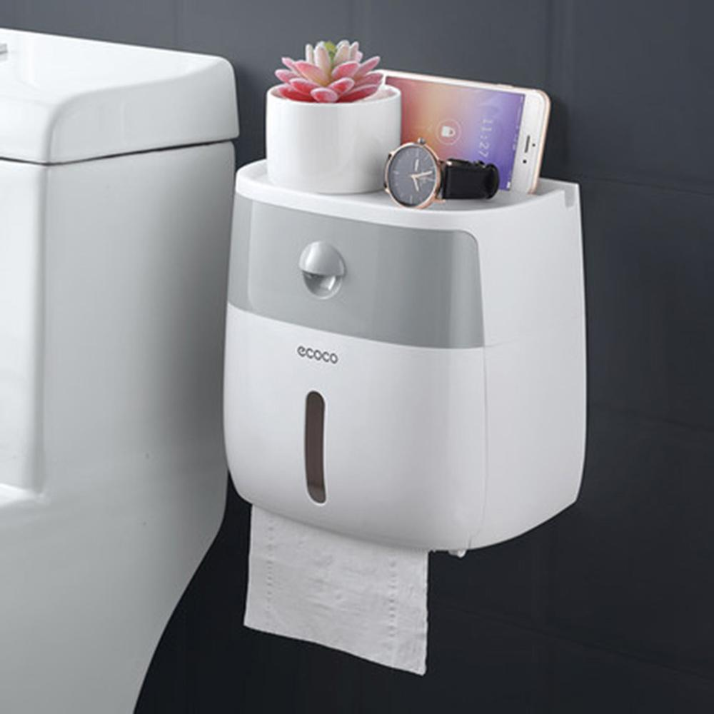 LF82003 Plastic Toilet Paper Holder Bathroom Double Paper Tissue Box Wall Mounted Paper Shelf Storage Box Toilet Dispenser