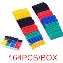 164PCS Cable Heat-Shrinkable Sleeve Tube Heat Shrink Tubing Wrap Waterproof Wire Protection Insulating Sleeve Shrinkage 2:1