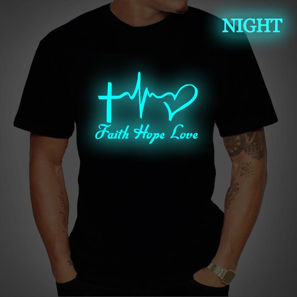 Fé esperança amor tshirt luminoso t camisa novidade camiseta masculina personalidade personalizado masculino gráfico camisetas preto o-pescoço topos roupas